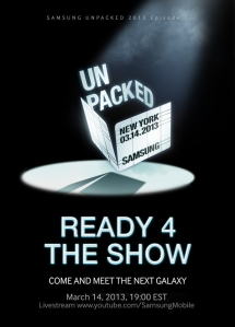 Samsung Unpacked invite for March 14 in New York City